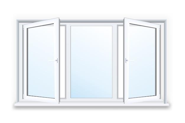 白い背景の上の現実的な開いたプラスチック窓