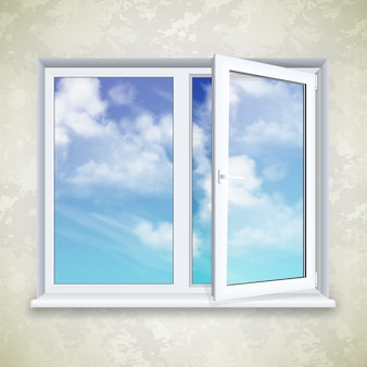 Realistic open square window on the background of wallpaper and sky