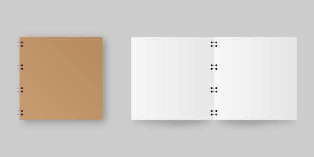 現実的な開いた、閉じたノート紙。空白のオープンとクローズの現実的なノート。テンプレート。図。