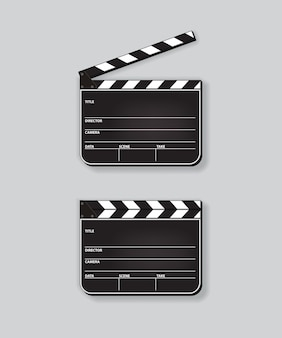 Realistic opened and closed clapperboards on grey background.