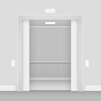Realistic opened empty elevator hall interior