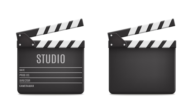 Realistic opened movie film clap board icon set closeup isolated on transparent