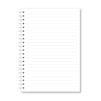 Realistic opened notebook.