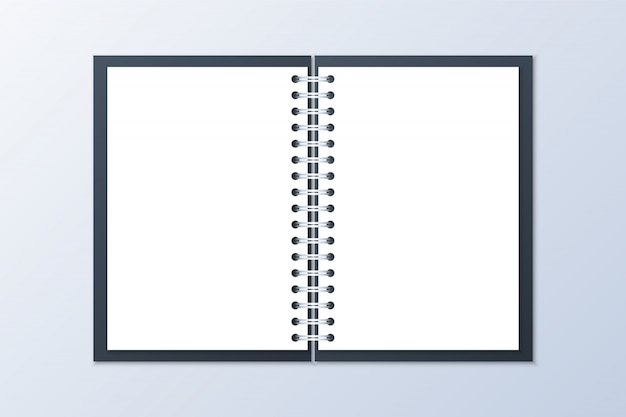 Realistic opened notebook
