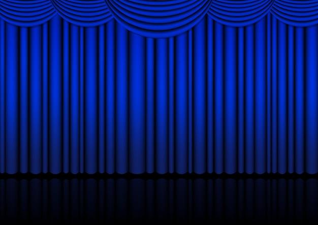 青いカーテンのある屋内のリアルなオペラステージ。