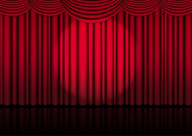Реалистичная оперная сцена в помещении с красным занавесом и прожектором для комедийного шоу или оперного кино. иллюстрации.