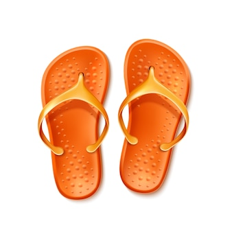 Realistic orange flip flops beach footwear slippers