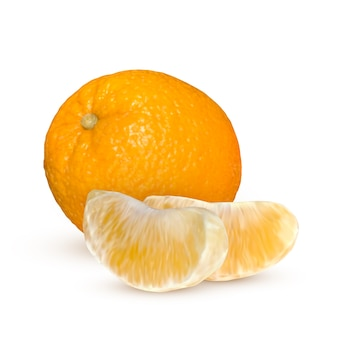 Realistic orange isolated on white background