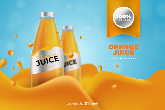 Realistic orange juice advertisement