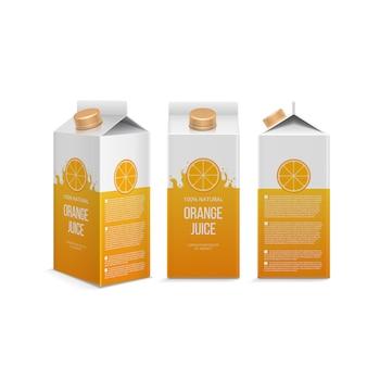 さまざまな予測で現実的なオレンジジュースボックス。白いイラストベクトルで分離されたジュースパック付きボックス