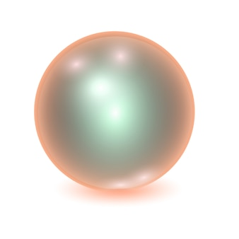 Realistic orange metall ball, shine sphere with patches of light