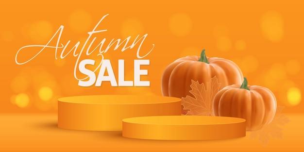 Realistic orange pumpkin gold leaves and orange podium happy thanksgiving day vector illustration