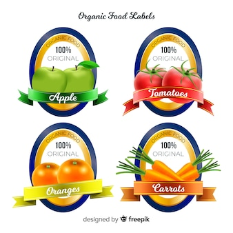 Realistic organic fruit label set