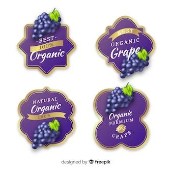 Realistic organic grape label set