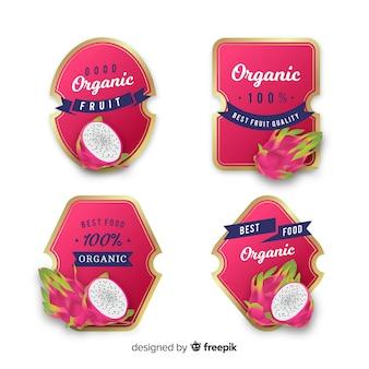Realistic organic lychee label set
