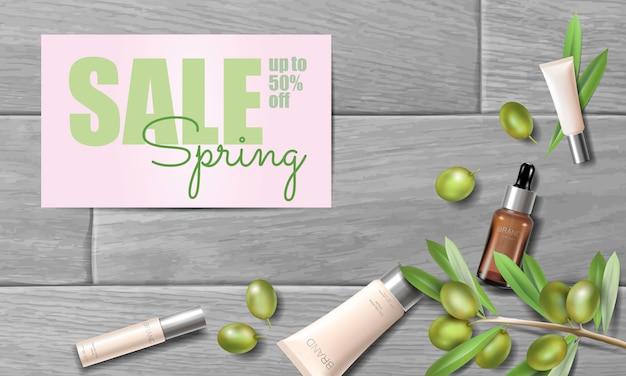 リアルなオーガニックオリーブオイル化粧品の広告。ナチュラルエッセンスファーム植物春販売オファープロモーションメッシュ3 d木の板プロモーションポスターテンプレート。 webバナー女性ガラス顔クリームイラスト