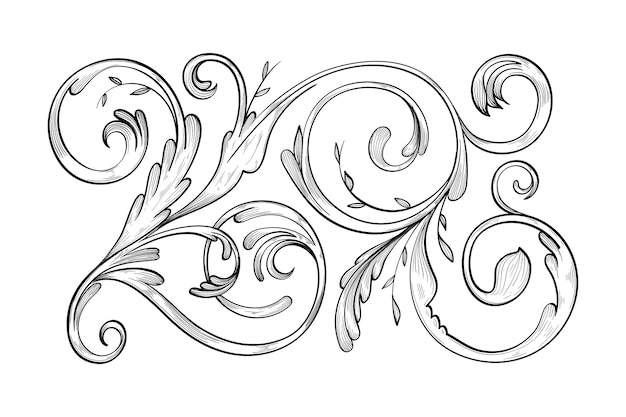 Realistic ornamental hand-drawn border
