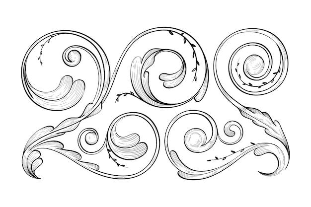 Realistic ornamental hand-drawn border