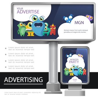 Realistic outdoor advertising template