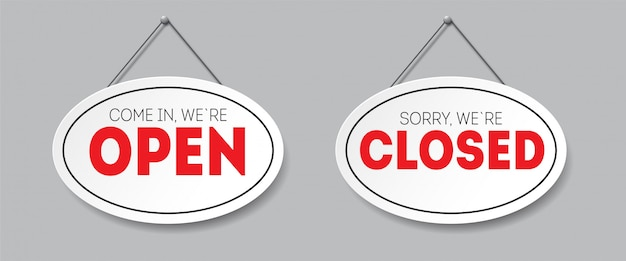 Realistic oval sign with shadow isolated. sorry, we are closed. come in, we`re open. signboard with a rope.