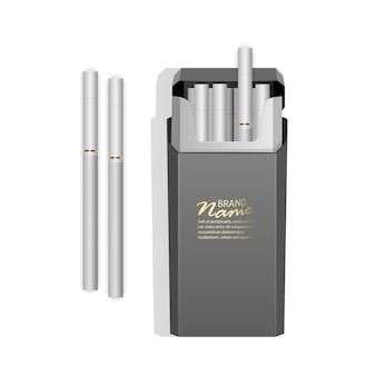 Realistic pack of light cigarettes. Premium Vector