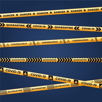 Realistic pack of quarantine stripes