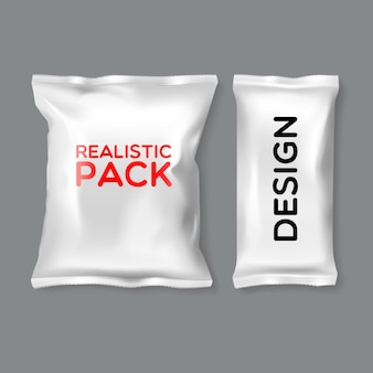 Realistic pack templates in different shape and size on grey background