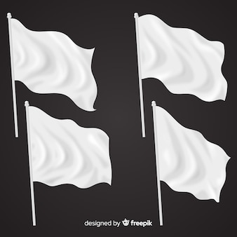 Realistic pack of textile flags