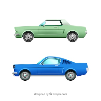 Realistic pack of vintage cars