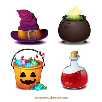 Realistic pack of witch elements