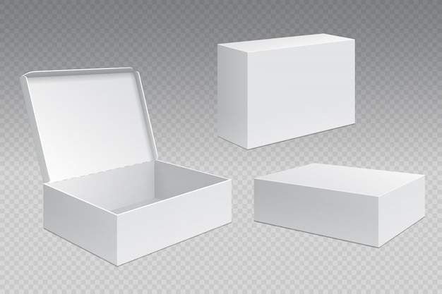Realistic packaging boxes. white open cardboard pack, blank merchandising products . carton square container template