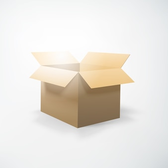 Realistic packing concept with opening cardboard box on white  isolated