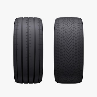 Realistic pair car tires isolated winter and summer season