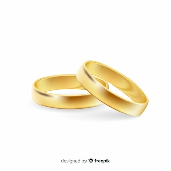 Realistic pair of golden wedding rings