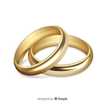 황금 결혼 반지의 현실적인 쌍