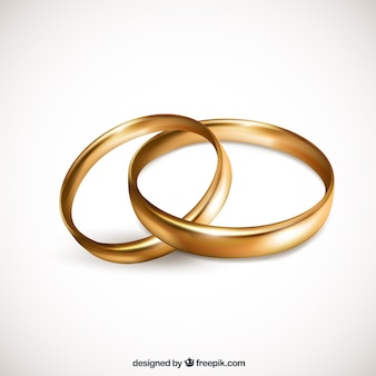 黄金の結婚指輪の現実的なペア