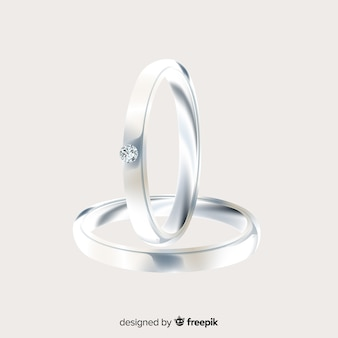 Realistic pair of silver wedding rings