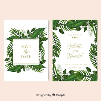 Realistic palm leaves frame wedding invitation template
