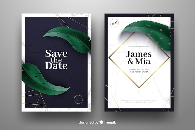 Realistic palm leaves wedding invitation template
