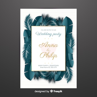 Realistic palm leaves wedding invitation
