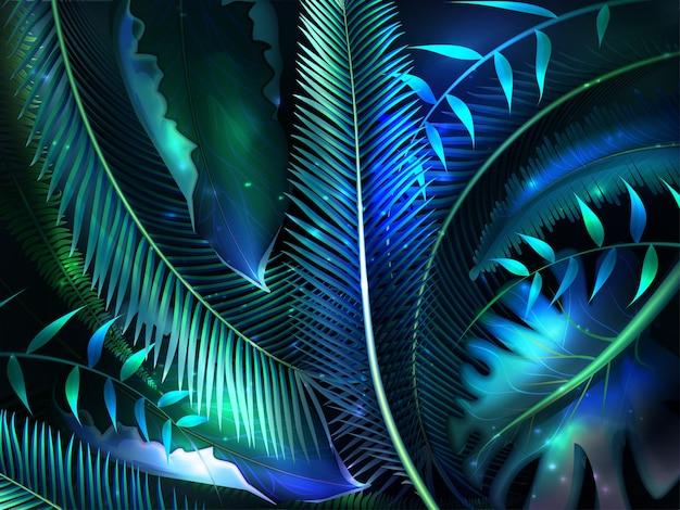 Реалистичные пальмовые листья с неоновым свечением. пальмовые листья тропических джунглей, экзотические светящиеся лесные растения. летний фон. естественный фон листьев. красивая ботаническая текстура.