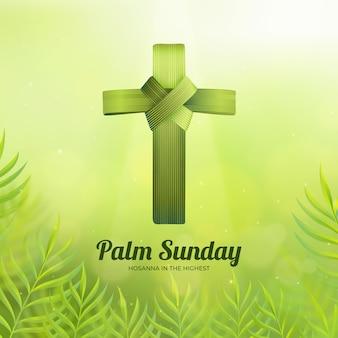 十字架とリアルなヤシの日曜日のイラスト