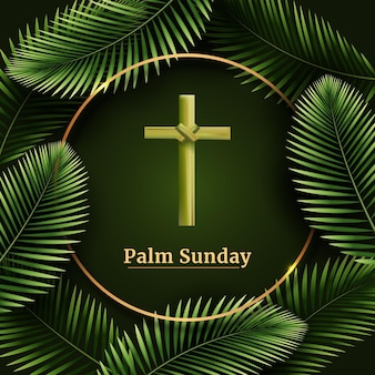 Realistic palm sunday illustration