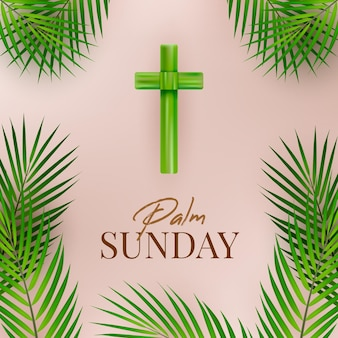 Realistic palm sunday illustration