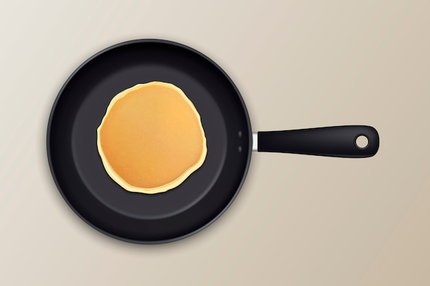 Realistic pancake in the frying pan icon closeup, top view.