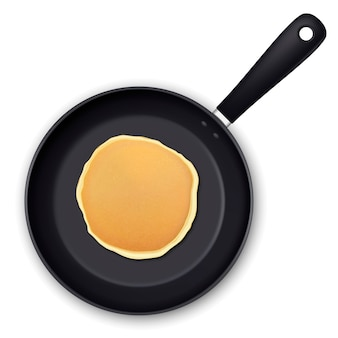 Realistic pancake in the frying pan isolated on white background top view