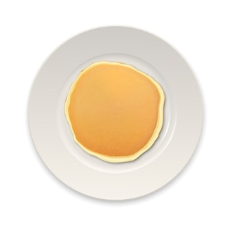 Realistic pancake on a white plate closeup isolated on white background, top view.