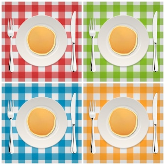 Realistic pancake on a white plate with fork and knife, icon set. closeup, top view.