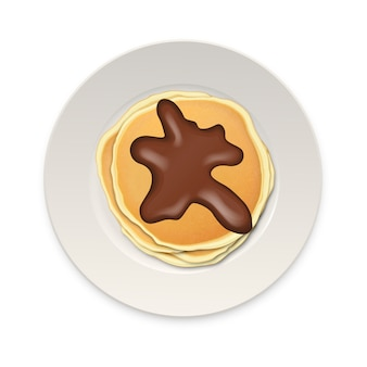 Realistic pancake with chocolate on a white plate closeup isolated on white background, top view.