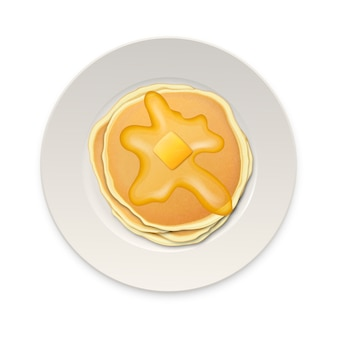 Realistic pancake with a piece of butter on a white plate closeup isolated on white background, top view.